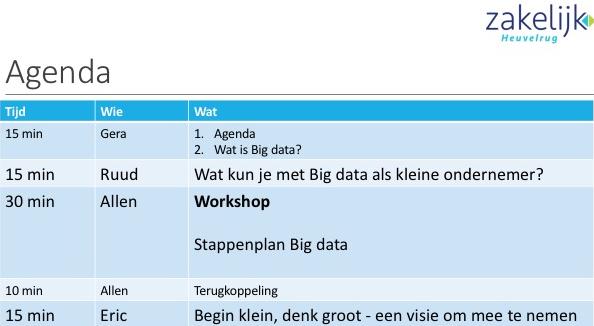 Agenda BigData bijeenkomst Zakelijk Heuvelrug, 22 maart 2016